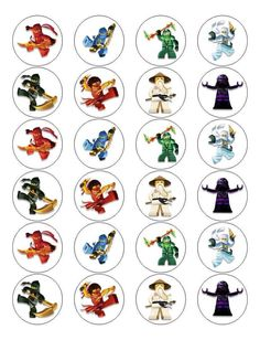 24 Lego Ninjago Stickers Round Labels Bag Lollipop Party Favors
