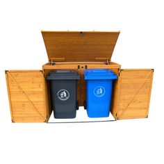 Leisure Season Large Horizontal Refuse Storage Shed - Brown - Wooden Refuse Cabinet for Trash Bins - Outdoor Tool and Garage Organizer – Weatherproof House and Garden Rubbish Enclosure Box Garbage Can Storage, Garbage Shed, Plastic Container Storage, Wood Storage Sheds, Outdoor Storage Sheds, Outdoor Sheds, Garage Storage, Tool Storage, Outdoor Spaces