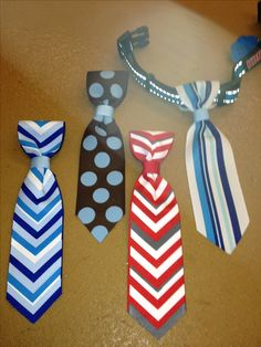 ♥ DIY Dog Stuff ♥ Dog ties for the little boy dogs, they slide right on the collar!