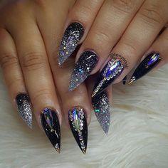 Rhinestone Nails, Bling Nails, Glitter Nails, Fancy Nails, Stiletto Nails, Fabulous Nails, Gorgeous Nails, Pretty Nails, Amazing Nails