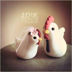 Chicken Custom Wedding Cake Topper Handmade by LuLuAmour on Etsy