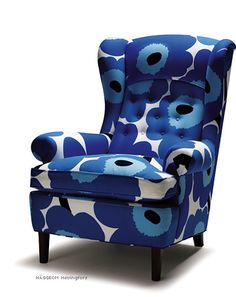 www.scandinaviandesign.com carlmalmsten 0309.htm Chaise Bleu, Big Comfy Chair, Marimekko Fabric, Occasional Chairs, Home Decor Furniture, Living Room Chairs, Cozy House, Sofa Chair, Wing Chairs