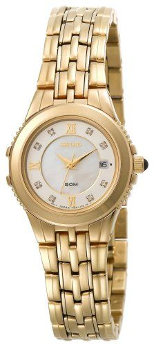 Seiko Women's Le Grand Sport Diamond Watch *** More info could be found at the image url. (This is an affiliate link) Seiko Watches, Stainless Steel Case, Cool Watches, Gold Watch, Bracelet Watch, Quartz, Pearls, Sport, Diamond