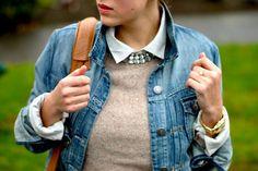 Layering: denim jacket + cozy brown sweater + button up shirt + rhinestones Found on annaswonderland.wordpress.com