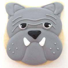 Bulldog cookies w/ tulip & skull cutters