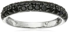 Sterling Silver Black Spinel Round Stackable Ring, Size 7 *** Click on the image for additional details.