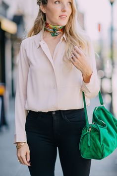 e0f3394cd907dd emerald scarf and leather shoulder bag on Leslie Musser one brass fox Rose  Quartz