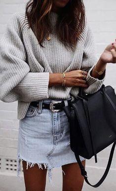 cableknit sweater + levis deconstructed denim skirt