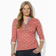 Lauren Ralph Lauren Plus Size Floral Cotton Henley #VonMaur #LaurenRalphLauren #ButtonTabs