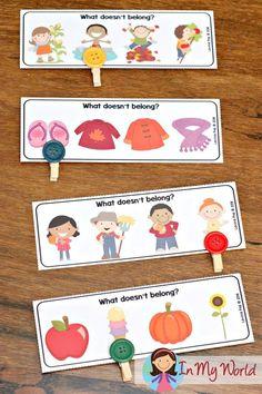 Autumn / Fall Preschool Centers what doesn't belong?