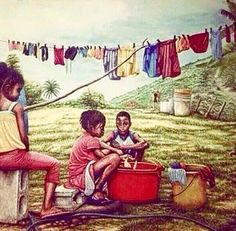 Washing Clothes back in d old days in T&T