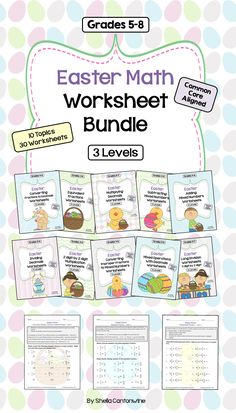 This Easter Math Worksheet Bundle features 30 different worksheets. Topics include Multiplication, Long Division, Fractions and Decimals.  There are 10 Topics each with 3 Levels. Level 1 is Basic, Level 2 is Intermediate, and Level 3 is Advanced.  These worksheets would be great for Early Finishers, Homework, Test Prep, Review, Math Centers, Remediation, Morning Work, or Bell Ringer Questions.