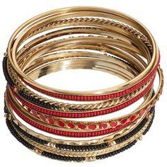 SONOMA life + style Bead Bangle Bracelet Set (Red) ($9.99) ❤ liked on Polyvore featuring jewelry, bracelets, red, bracelet bangle, bangle charm bracelet, bracelets & bangles, charm bracelet and beads & charms