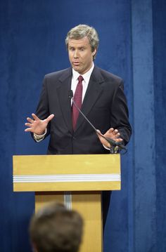 """October """" 1999 – Paving the way for strategery… Will Ferrell portrays George W. Bush, then governor of Texas, for the first time """" Will Ferrell, People Laughing, Saturday Night Live, Snl, Funny People, Comedians, Texas, Texas Travel"""