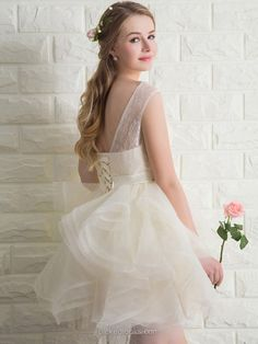 Shop Scoop Neck Lace Tulle Lace-up Short/Mini Bow Ivory Ball Dress in New Zealand