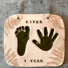 Fern stamp border for this lovely hand print foot print impression in clay. Baby Hand And Foot Prints, Hand Prints, Baby Hands, Baby Feet, Baby Shower Cakes Neutral, Baby Footprints, Hand Art, Print Ideas, Salt Dough