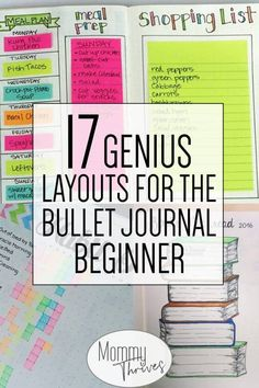 How to Start a Bullet Journal - Plus Examples to Get You Started - Mommy Thrives Bullet Journal Spreads for beginners - Bullet Journal Layouts and Habit Trackers - How to Start a Bullet Journal - 17 Genius Layouts for the Bullet Journal Beginner Bullet Journal 17, Bullet Journal Spreads, Bullet Journal For Beginners, Bullet Journal Ideas Pages, Bullet Journal Layout, Bullet Journal Inspiration, Journal Pages, Planner Journal, Bullet Journal Time Tracker