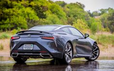 Download wallpapers Lexus LC 500, 2018, sports coupe, 4k, Japanese sports cars, gray LC 500, rain, Lexus