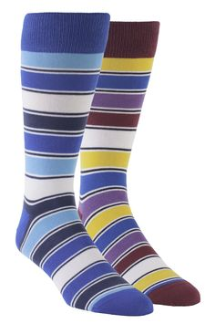 Statement Sockwear: Striped sock design featuring blue, apple red, golden yellow and light purple. Every 2-pack gift box provides 200 days of clean water for someone in Africa. Make a statement. Make a difference.