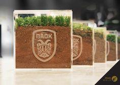 PAOK FC promotional material. A piece of the Toumba Stadium. Gold Ermis Award 2014