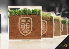 PAOK FC promotional material. A piece of the Toumba Stadium. Gold Ermis Award 2014
