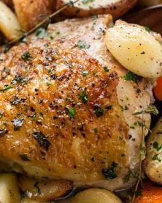 This easy one pan roasted chicken is made with a whopping 40 cloves of garlic, and is an incredibly flavorful and easy dinner recipe! Don't let the 40 cloves of garlic scare you off… they take on a me Creamy Garlic Chicken, Roasted Chicken, Baked Chicken, Salmon Recipes, Chicken Recipes, Chicken Meals, Crockpot White Chicken Chili, Chicken Tortilla Soup, Roasting Pan
