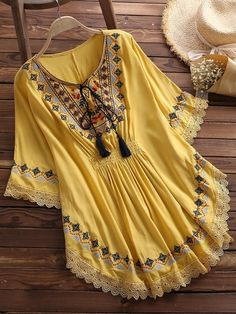 Large Size Summer Women's Retro Long Raglan Sleeves Round Neck Cotton Embroidered Cloak Top Large Size Summer Women's Retro Long Raglan Sleeves Round Neck Cotton Embroidered Cloak Top Stylish Dresses For Girls, Stylish Dress Designs, Casual Dresses, Girls Dresses, Kurta Designs Women, Blouse Designs, Frock Fashion, Fashion Dresses, Steampunk Fashion