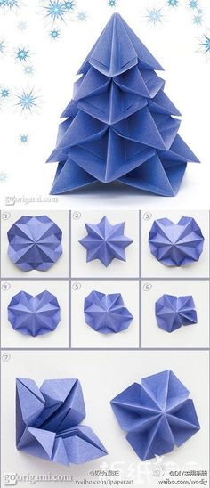 How to make paper craft origami christmas trees step by step DIY tutorial instructions Papier technieken Diy Origami, Origami Paper Folding, Origami And Kirigami, Paper Crafts Origami, Origami Stars, Diy Paper, Paper Crafting, Oragami, Origami Envelope