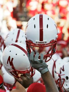 University of Nebraska - Nebraska Football Helmets Photographic Print