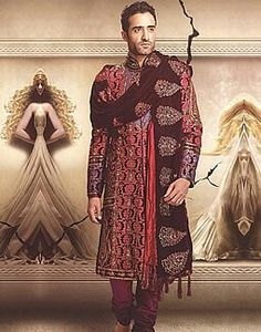 I like this look, not the sherwani itself because its way too busy. Just the idea of a sherwani and chadar/shawl thrown round