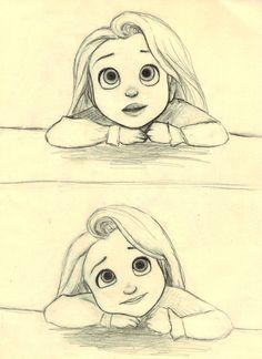 Little Rapunzel (c) Glen Keane & Disney – - realistic drawings Disney Kunst, Arte Disney, Disney Art, Disney Ideas, Realistic Drawings, Cute Drawings, Drawing Sketches, Drawing Faces, Pencil Drawings