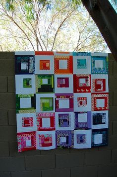 Scrappy Stash Quilt -by melis108, via Flickr- love the white with the color. Striking!
