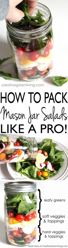 How to pack healthy mason jar salad like a pro. Perfect make ahead lunch or dinner for 21 Day Fix, Whole 30 or Paleo.: