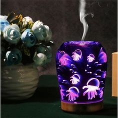 Jellyfish Style 3D Humidifier Aromatherapy Lamp Glass Diffuser Color Changing Night Light