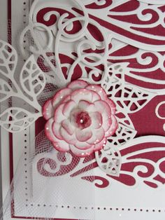 PartiCraft (Participate In Craft): Thanks For Being There. 23/02/2015. Complete petal Camellia, Picked Raspberry distress ink and sugared with Iced Snow.