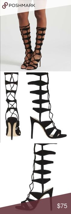 249014450 Topshop Roxanne Black Gladiator Sandals Size 11.5 NWT. Step up your game  with these tie