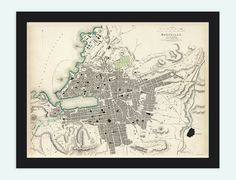Old Map of Marseille with gravures City Plan by OldCityPrints, $29.00