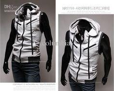 NWT Men's Zip up Waistcoat Vest Hoodies Hooded Jacket Coat Vest For Sale, Sleeveless Hoodie, White Hoodie, Hoodies, Sweatshirts, Motorcycle Jacket, Zip Ups, Hooded Jacket, Autumn Fashion