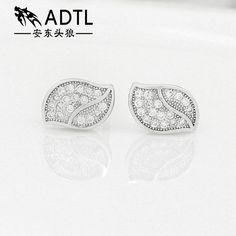 adtl hearts & arrows cut zirconia leaf leaves stud earring 925 sterling silver earring engagement orecchini