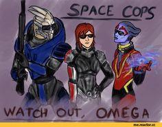 Mass Effect,фэндомы,ME art,Garrus,Femshep,Samara