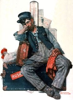 """""""Rush"""" by Norman Rockwell, Style: Regionalism ・ Genre: genre painting"""
