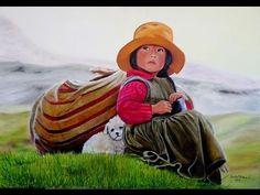 (19) CHILILIN - WAWA JAYLLI - RONDA INFANTIL - AYMARA, CASTELLANO, QUECHUA - YouTube Arte Latina, Peruvian Art, Southwest Art, Learning Styles, Paul Gauguin, Naive Art, Native American Art, Bolivia, Watercolor Flowers