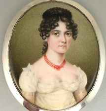 ANTIQUE PAINTED MINIATURE PORTRAIT OF LADY ~CORAL NECKLACE IN SILVER FRAME 1800s