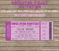 Printable Rockstar Party Ticket Invitation