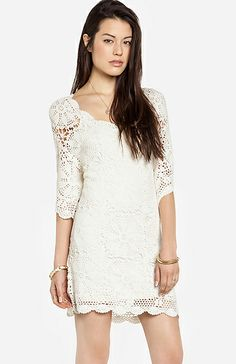 DailyLook: Lucca Couture Crochet Dress in Cream Casual Dress Outfits, Chic Outfits, All Fashion, Autumn Fashion, Lace Dress, Dress Up, Beautiful Outfits, Beautiful Clothes, Rehearsal Dinner Dresses