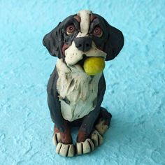 Bernese Mountain Dog with Ball Ceramic Sculpture by RudkinStudio