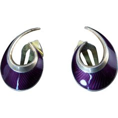 Purple Enamel Earrings by Norwegian Modernist Hans Myhre Silver Enamel, Vintage Earrings, All Art, Norway, Silver Jewelry, Cufflinks, Purple, Accessories, Wedding Cufflinks