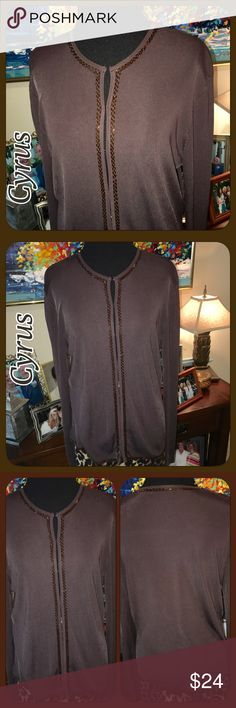 Cyrus (Nordstroms) Brown Beaded Jacket Lightweight This beautiful nice lightweight jacket is the material you can throw in a suitcase & it shouldn't wrinkle (like travelers department at Chico's).' Brand is Cyrus (sold at Nordstroms). 72% Rayon 28% Nylon. Brown with nice beading around neck, down front & along bottom. Has the clip/hook small closures on edge of jacket inside. Only flaw is 2 of the circles u slide hook into are missing towards bottom. (See pic 4). Can be worn open or just…