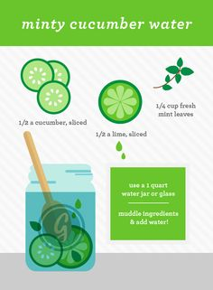 minty cucumber water is a great cucumber water combination Cucumber water has a long list of benefits. See the article of 10 top benefits and try these cucumber water recipes. Yummy Drinks, Healthy Drinks, Get Healthy, Healthy Life, Healthy Snacks, Healthy Living, Healthy Recipes, Infused Water Recipes, Fruit Infused Water
