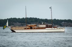 """66 ft classic Swedish motor yacht """"Carla III"""" from 1917 in the Stockholm archipelago, Sweden."""